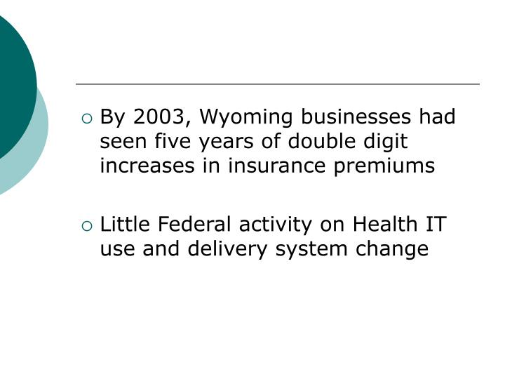 By 2003, Wyoming businesses had seen five years of double digit increases in insurance premiums