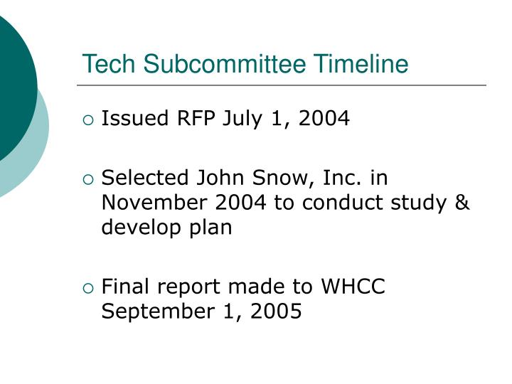 Tech Subcommittee Timeline