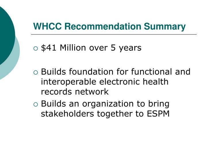 WHCC Recommendation Summary