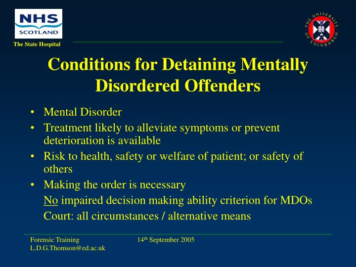 Conditions for Detaining Mentally Disordered Offenders