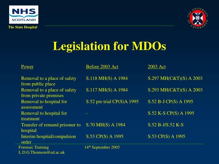 Legislation for MDOs