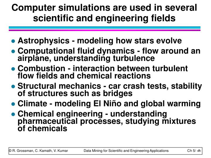 Computer simulations are used in several scientific and engineering fields