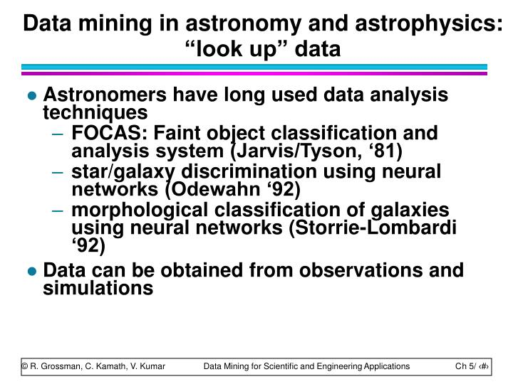 "Data mining in astronomy and astrophysics: ""look up"" data"