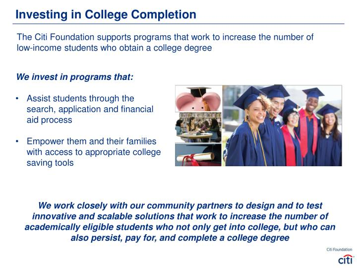 Investing in College Completion