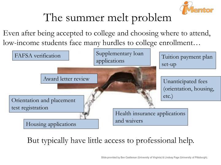 The summer melt problem