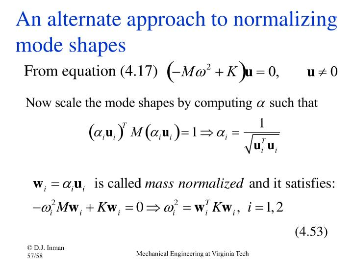 An alternate approach to normalizing mode shapes
