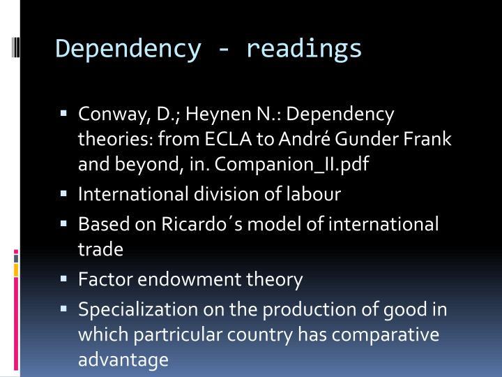 Dependency - readings