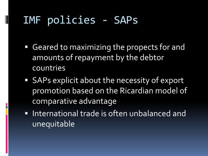 IMF policies - SAPs