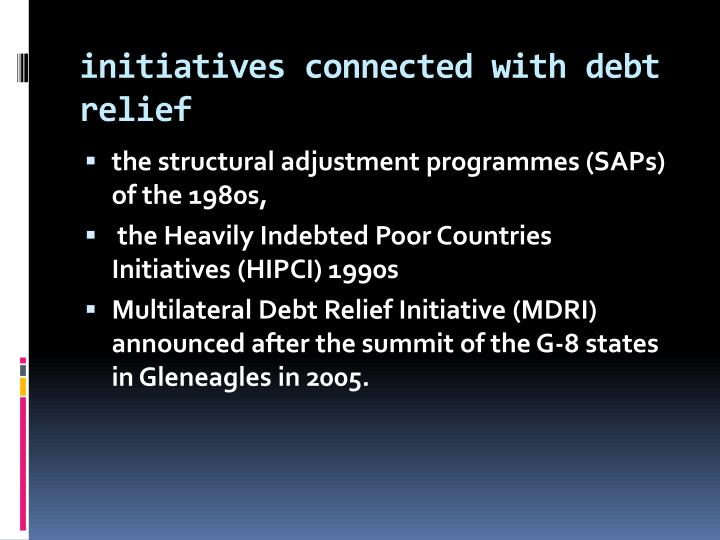 initiatives connected with debt relief