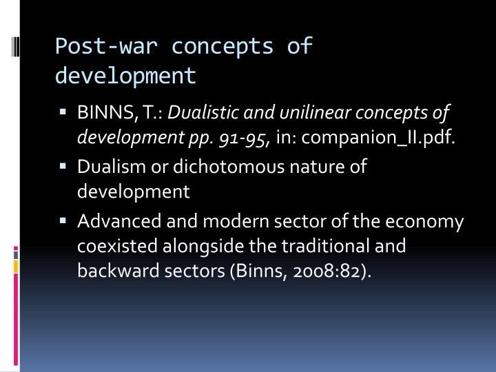 Post-war concepts of development
