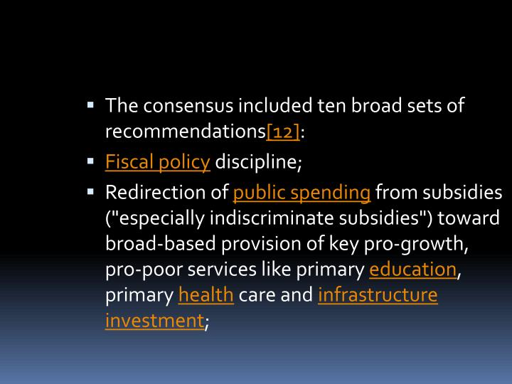 The consensus included ten broad sets of recommendations