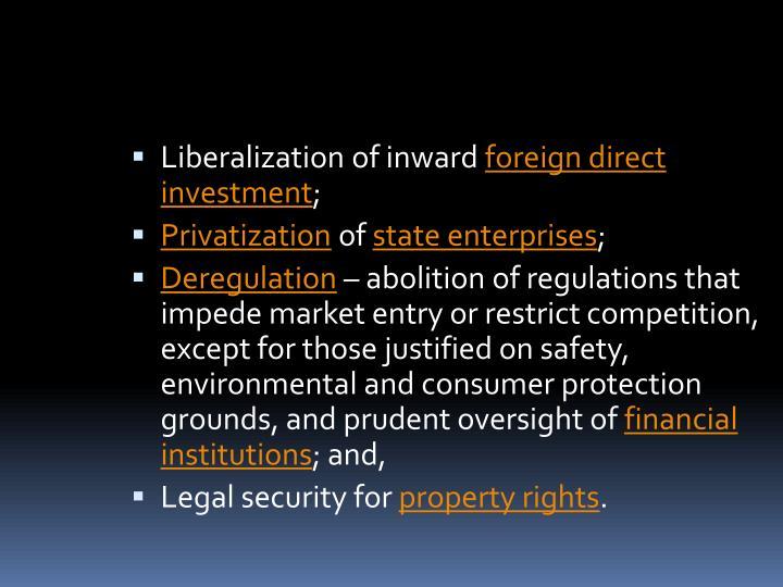 Liberalization of inward