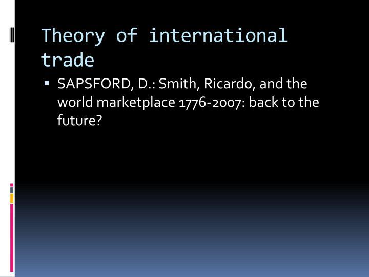 Theory of international trade