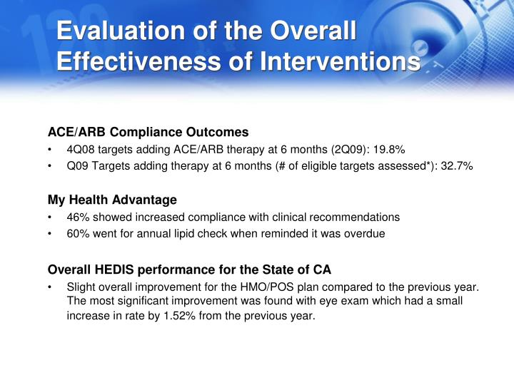 Evaluation of the Overall Effectiveness of Interventions