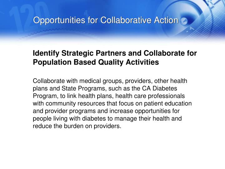 Opportunities for Collaborative Action