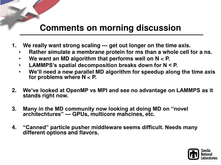 Comments on morning discussion