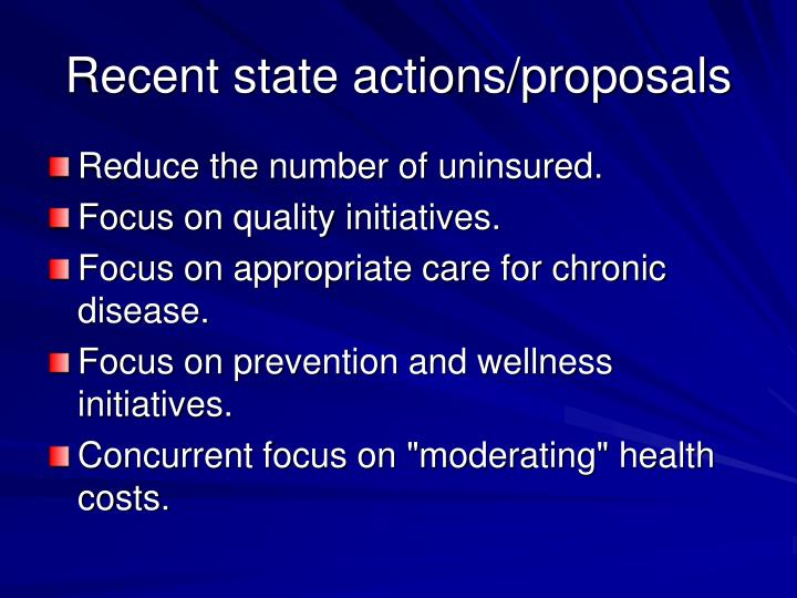 Recent state actions/proposals