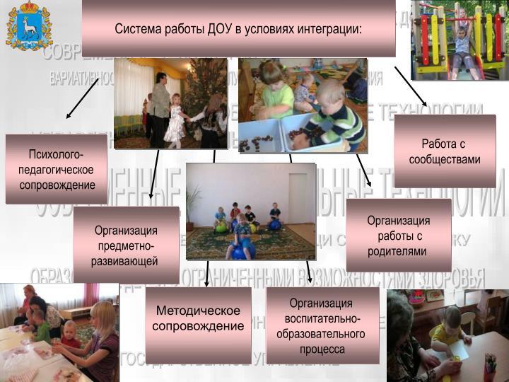 Система работы ДОУ в условиях интеграции: