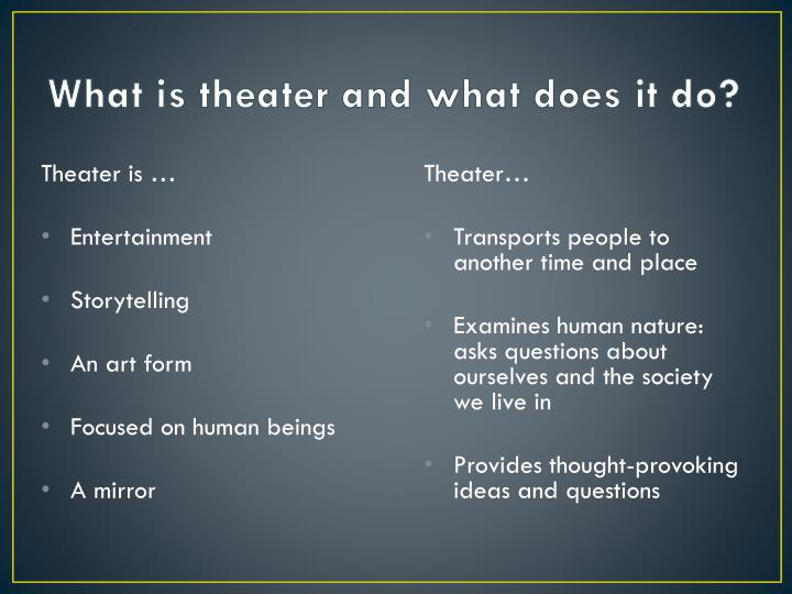 What is theater and what does it do?