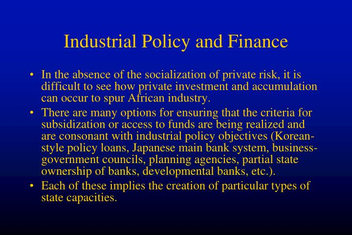 Industrial Policy and Finance
