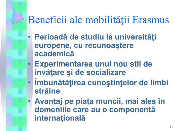 Beneficii ale mobilităţii Erasmus