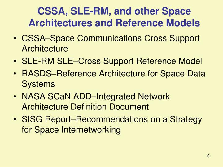 CSSA, SLE-RM, and other Space Architectures and Reference Models