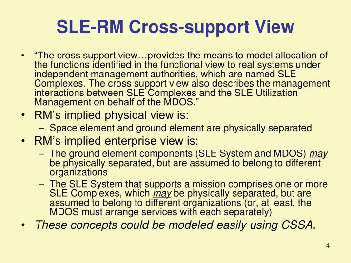 SLE-RM Cross-support View