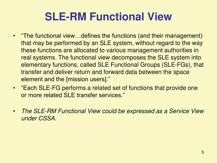 SLE-RM Functional View