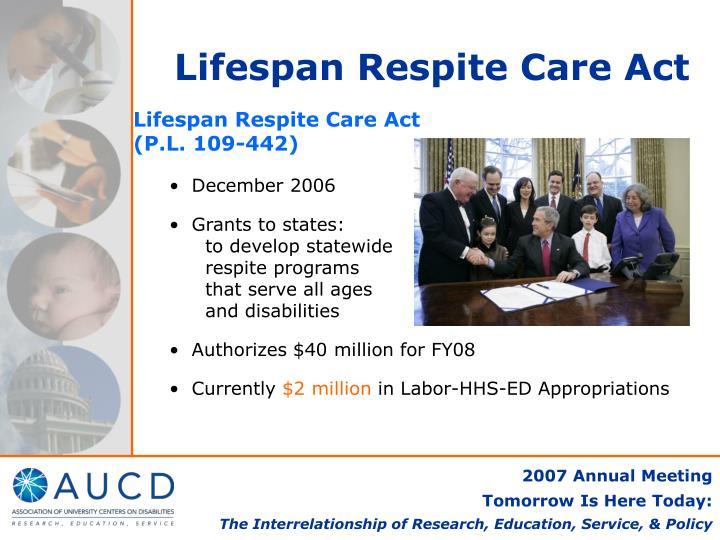 Lifespan Respite Care Act