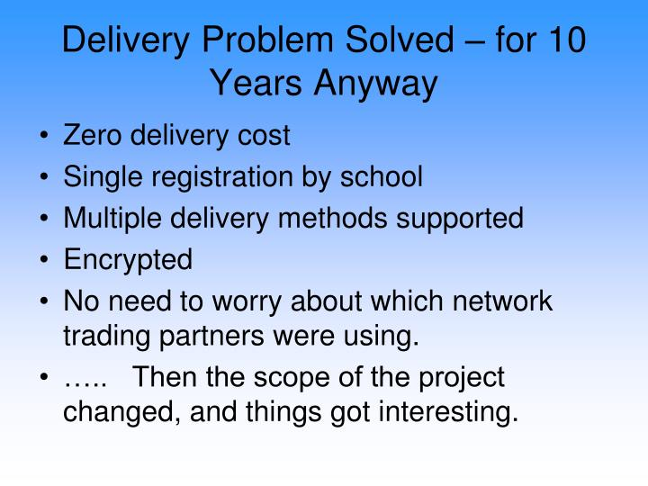 Delivery Problem Solved – for 10 Years Anyway