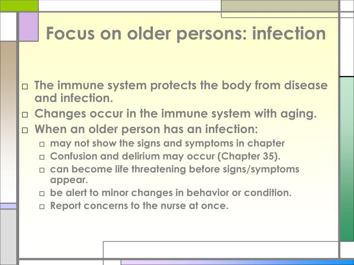 Focus on older persons: infection