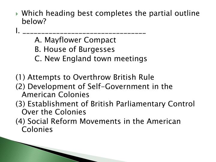 Which heading best completes the partial outline below?