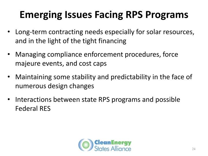 Emerging Issues Facing RPS Programs