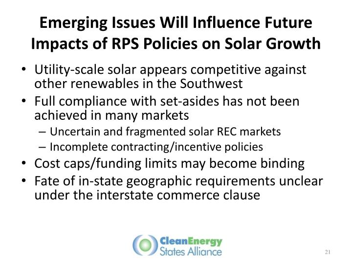 Emerging Issues Will Influence Future Impacts of RPS Policies on Solar Growth