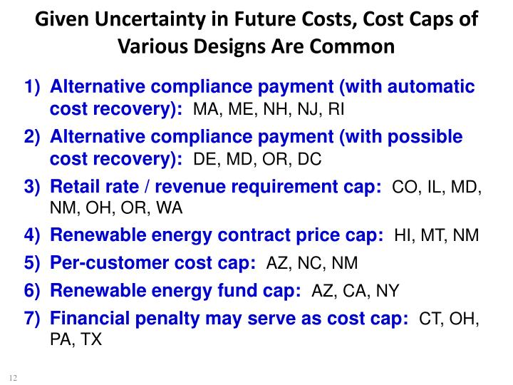 Given Uncertainty in Future Costs, Cost Caps of Various Designs Are Common