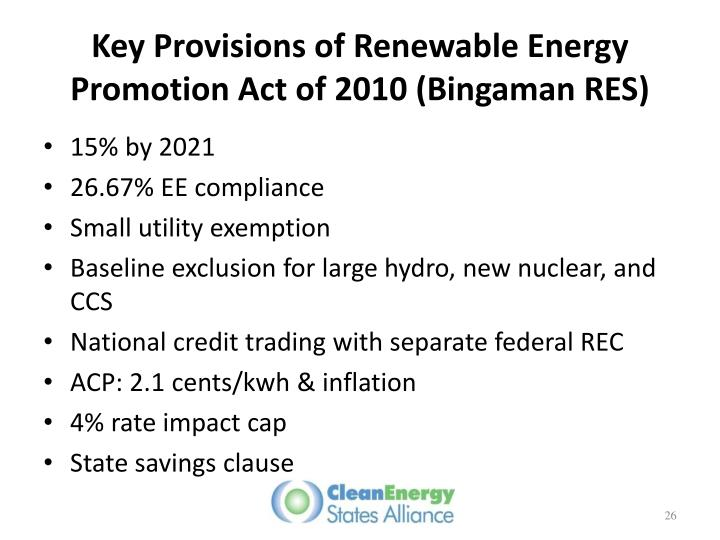 Key Provisions of Renewable Energy Promotion Act of 2010 (Bingaman RES)