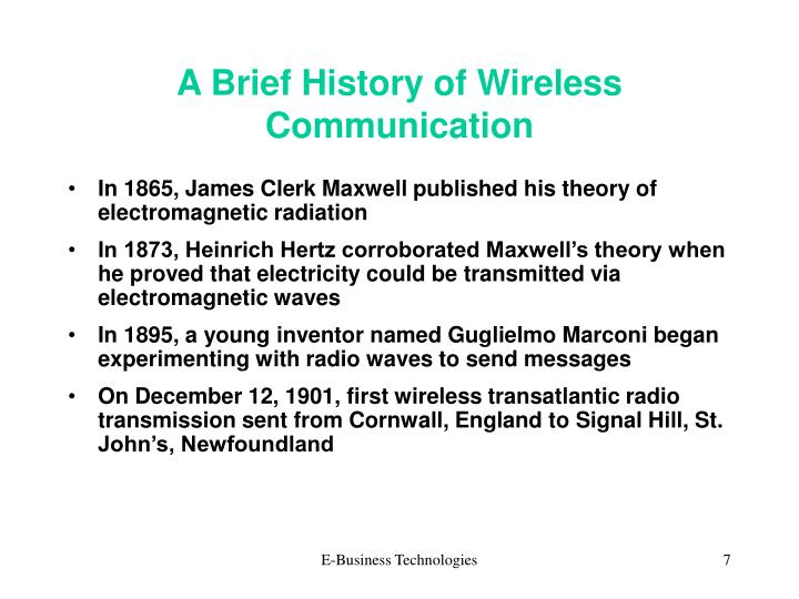 A Brief History of Wireless Communication