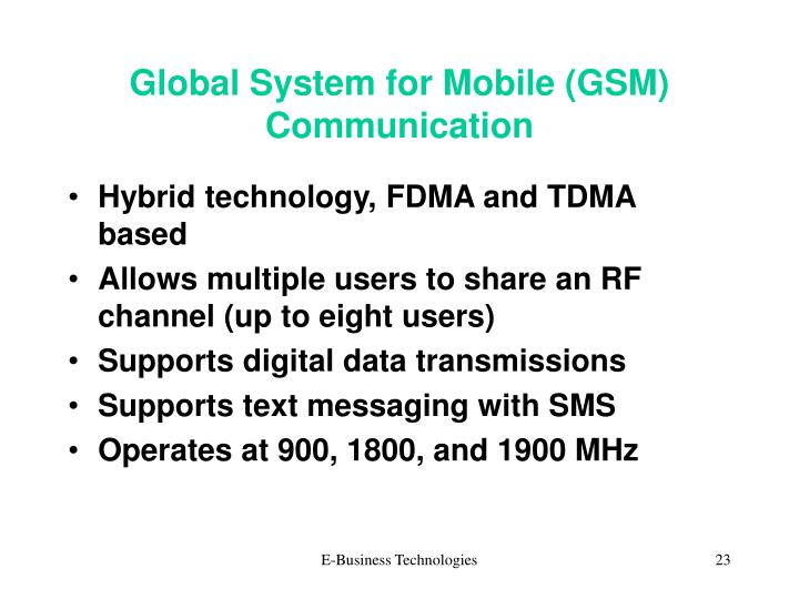 Global System for Mobile (GSM) Communication