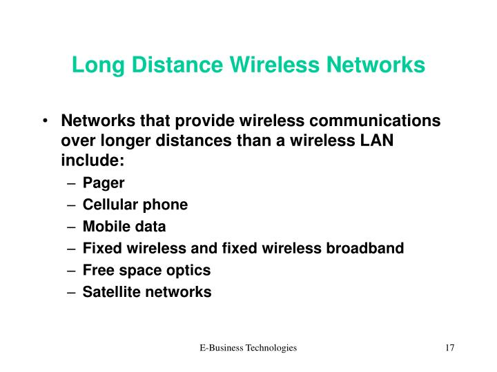 Long Distance Wireless Networks