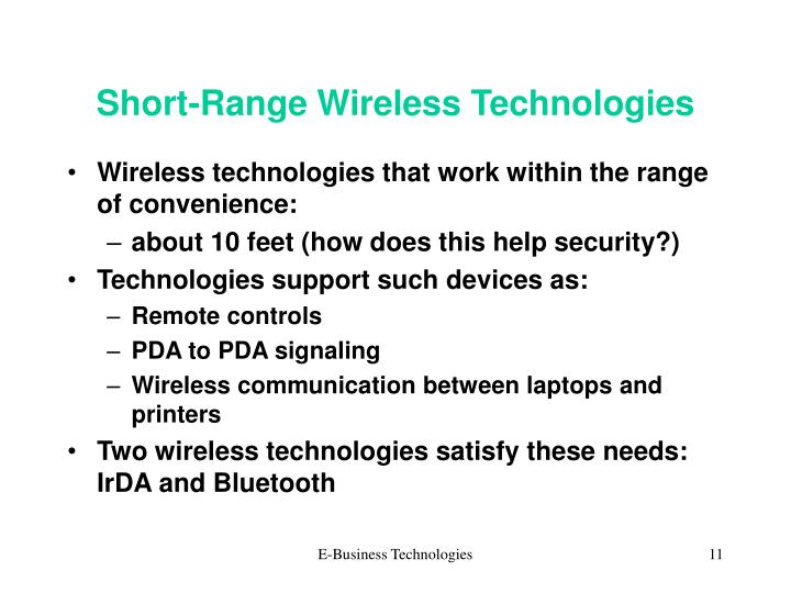 Short-Range Wireless Technologies