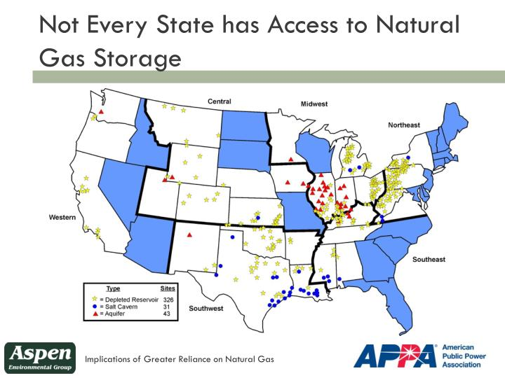 Not Every State has Access to Natural Gas Storage