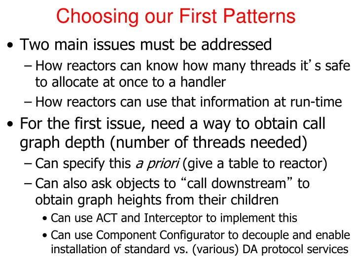 Choosing our First Patterns