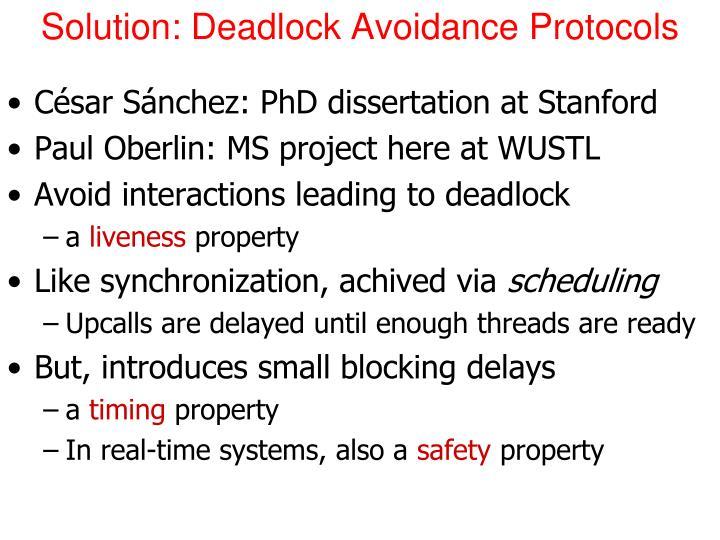 Solution: Deadlock Avoidance Protocols
