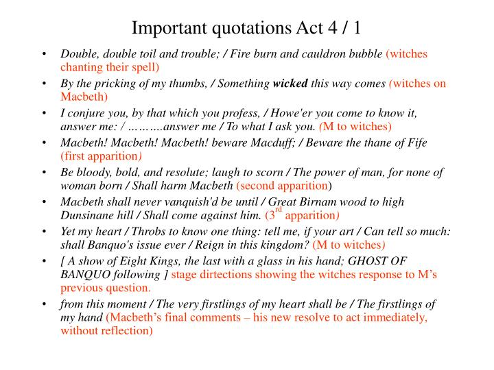 Important quotations Act 4 / 1