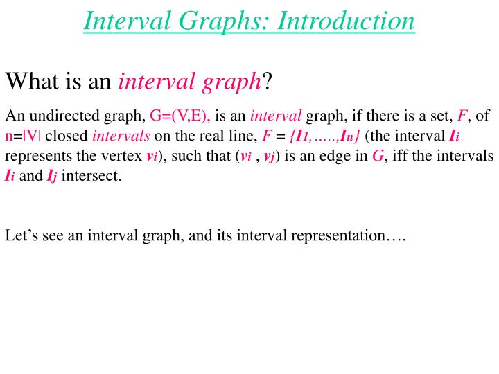 Interval Graphs: Introduction