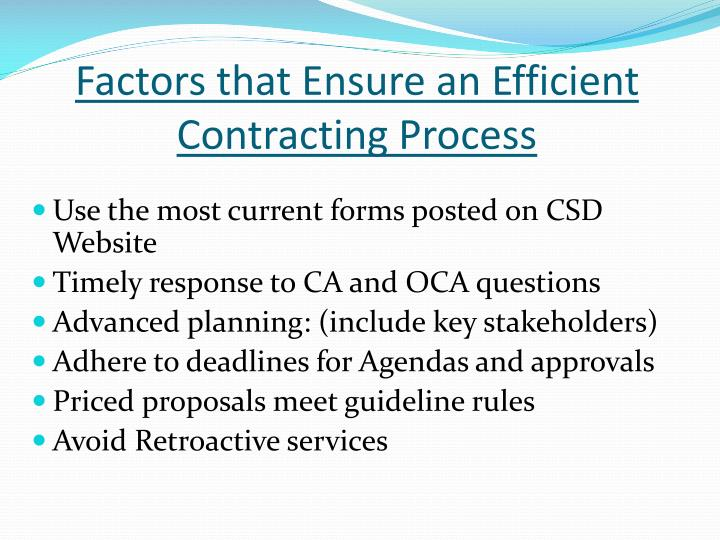Factors that Ensure an Efficient Contracting Process