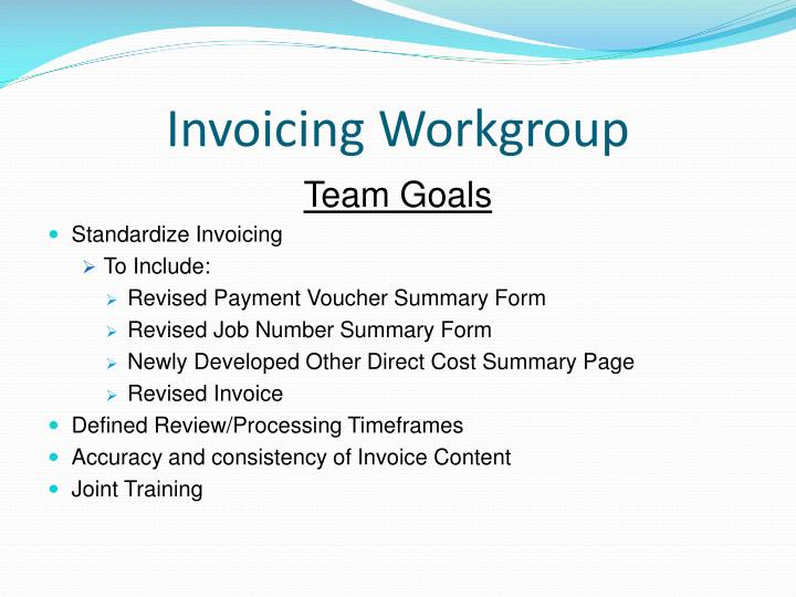 Invoicing Workgroup