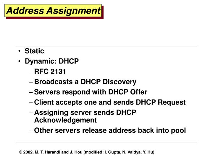 Address Assignment