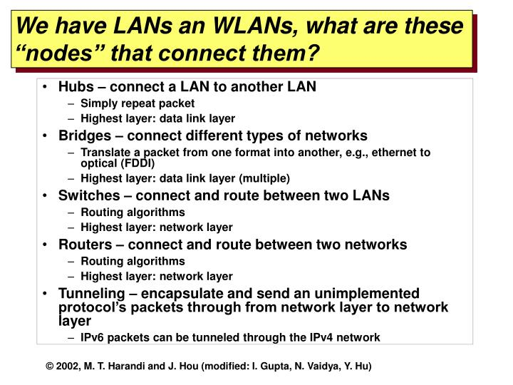 We have lans an wlans what are these nodes that connect them