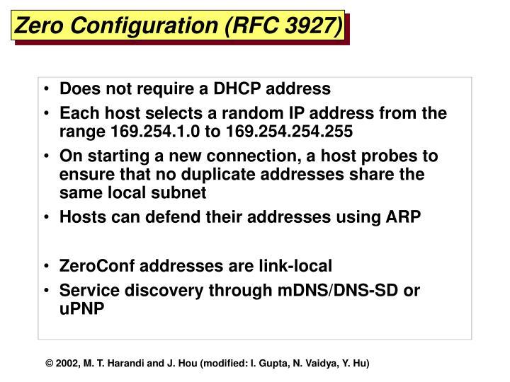 Zero Configuration (RFC 3927)